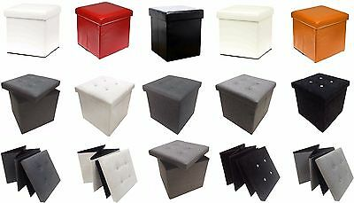 Single One Seater Ottoman Storage Box Foot Stool Suede Linen Foldable Black Red • 9.95£