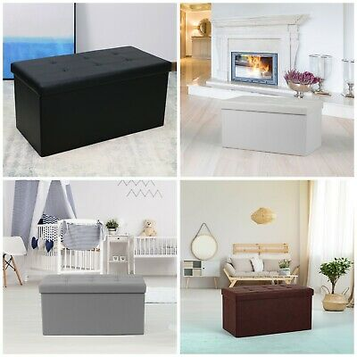 Large 2 Seater Double Ottoman Foldable Storage Box Linen Suede Foot Stool Seat • 15.95£