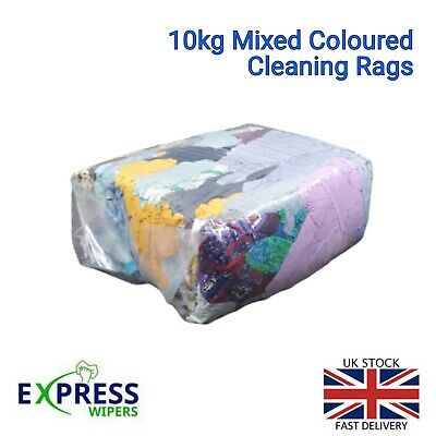 £15.99 • Buy 10kg Bag Mixed Coloured Cleaning Rags Wipers General Wiping Cloths FREE DELIVERY