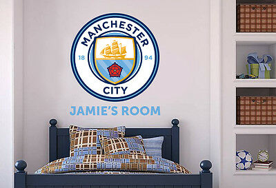 Official Manchester City Personalised Crest, Name & Set Wall Sticker Decal Man • 19.99£
