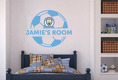 Official Manchester City Personalised Ball & Wall Sticker Set Decal Vinyl Mural • 19.99£