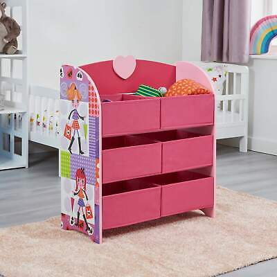 Children's Storage Unit With 6 Fabric Storage Boxes Pink Fashion Girl Themed  • 24.99£