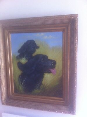 Large Framed Vintage Signed Spaniel Gun Dog Hunting Country Oil Painting Canvas • 145£
