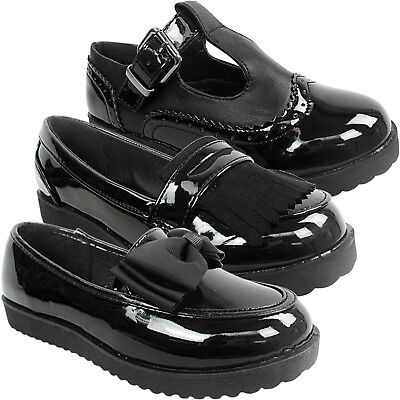 £9.95 • Buy Girls Kids Ladies Flat Low Loafers Dolly School Shoes Size Bow Pumps Work T Bar