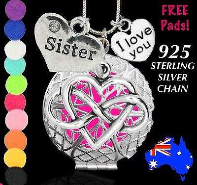 AU9.50 • Buy Sister Love Heart Aromatherapy Perfume Oil Diffuser 925 Silver Necklace Gift New