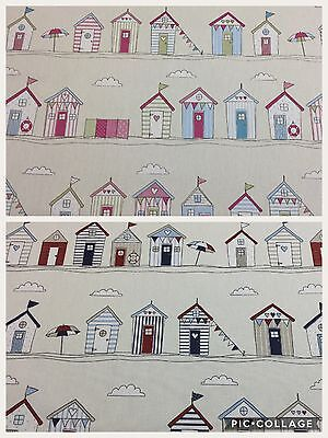 £9.95 • Buy Fryetts BEACH HUT Blue/Pink Cotton Fabric For Curtains/Upholstery/Crafts
