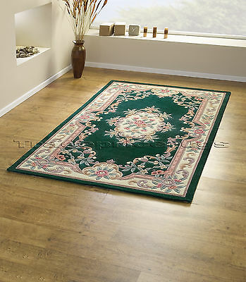 £75.52 • Buy Small - Large Dark Bottle Green Soft Thick 100% Wool Pile Aubusson Chinese Rug