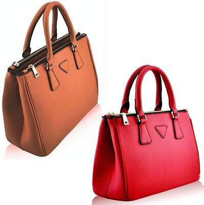 Ladies New Faux Leather Stylish Large Hand Bag Tote 3 Compartments & Strap *sale • 12.95£