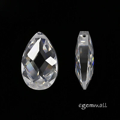 $4.04 • Buy 2 Cubic Zirconia Flat Pear Briolette Pendant Beads 10x16mm Clear / White #96199