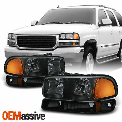 $99.99 • Buy Fit 1999-06 GMC Sierra Yukon Black Headlights + Bumper Signal Lamps Replacement