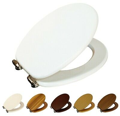Norfolk Soft Close Wood Toilet Seat, Adjustable Chrome Hinges, Easy Installation • 41.25£