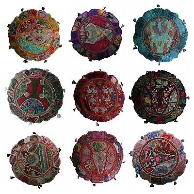 Indian Handmade Floor Round Home Decor Pillow Vintage Patchwork Cushion 45cm(D) • 7.50£