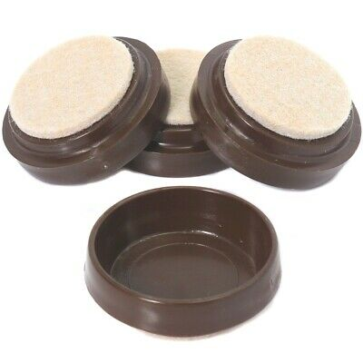 £4.15 • Buy 4 X LARGE BROWN FELT PADDED CASTOR CUPS Floor Chair Furniture Protectors Caster