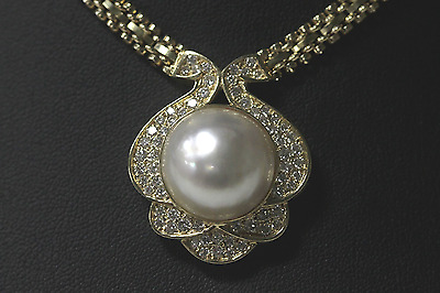 $2499 • Buy Large Mabe Pearl & 66 Diamond Necklace 1.65 Carats 14k Yellow Gold