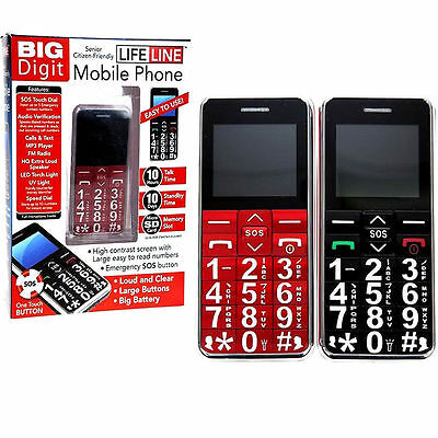 Big Digit Mobile Phone With Large Digits Sos Button Unlocked Senior Citizen Gift • 24.11£