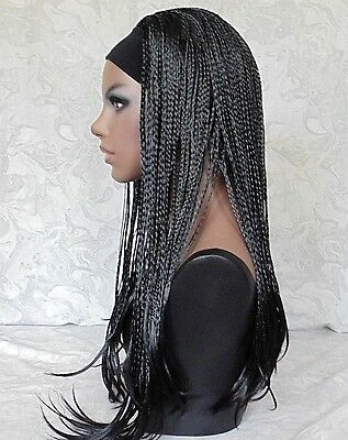 $49 • Buy Excellent Long Jet Black Braided 3/4 HEADBAND Wig - 13339