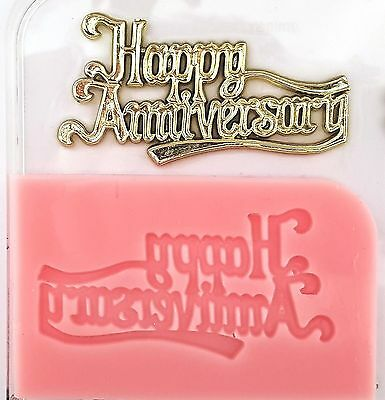 Happy Anniversary Silicone Mould For Cake Toppers, Chocolate, Clay Etc • 6.50£