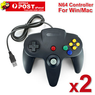 AU29.95 • Buy 2x NINTENDO 64 N64 GAMES CLASSIC GAMEPAD CONTROLLERS FOR USB TO PC / MAC