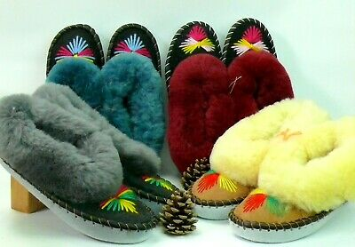 Ladies Sheepskin Slippers 100% Leather For Handmade Hand-embroidered All Sizes • 17.99£