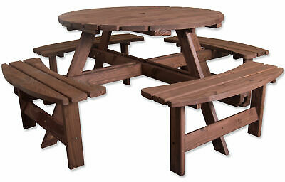 Woodside 8 Seater Round Outdoor Pressure Treated Pub Bench/Garden Picnic Table • 199.99£