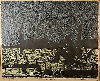 $ CDN425.09 • Buy Fine Vintage Linocut,  A Challenge To Though  South American Listed Art! Farmer!