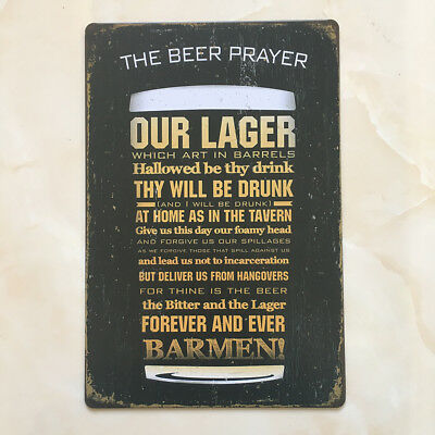 Vintage Style Metal Wall Sign Tin Plaque Retro Kitchen THE BEER PRAYER Decor • 5.19£