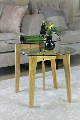 Athena Set Of 2 Nesting Table- Clear Tempered Glass,Solid Pinewood Legs-WNT07N • 39.99£