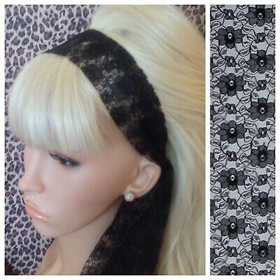 BLACK FLORAL LACE 50s VINTAGE STYLE HEADBAND HAIR SCARF SELF TIE BOW 80s RETRO • 2.99£