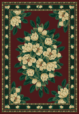 $34.99 • Buy MAGNOLIA Red BURGUNDY Green FLORAL Carpet TRADITIONAL Country COTTAGE Area RUG