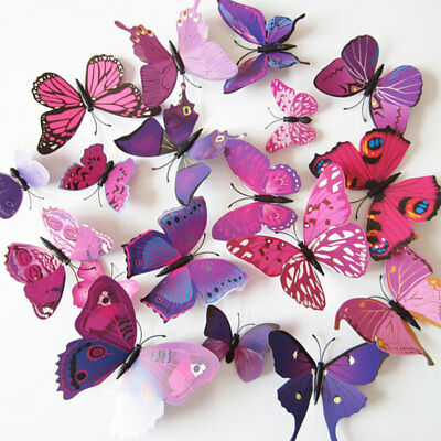 AU11.75 • Buy Home Decor 3D DIY Butterfly Wall Sticker Butterfly Room  Magnetic Stickers