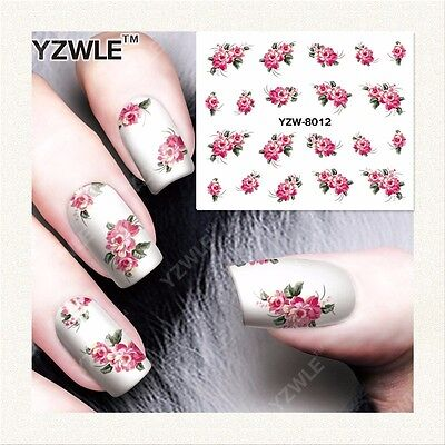 £1.70 • Buy Pink Roses Flowers Nail Art Sticker Decal Decoration Manicure Water Transfer