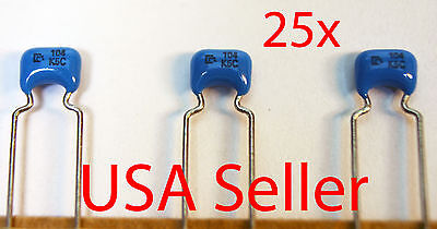 $5.95 • Buy 25x MURATA Ceramic Capacitor 0.1uF 50V X7R 10% (100nF, 104K) NEW, USA Seller