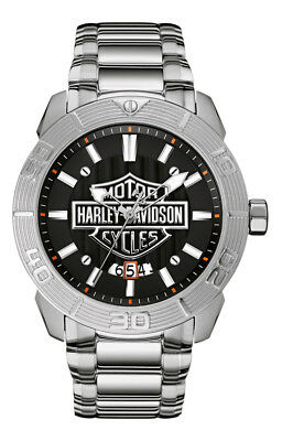 Harley-Davidson Men's Bulova Watch, Embossed Bar & Shield Stainless Steel 76B169 • 187.30£