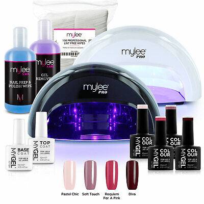 View Details Mylee Mygel Kit LED Nail Lamp 4 Gel Polish Colours Top Base Prep+Wipe Remover • 69.99£