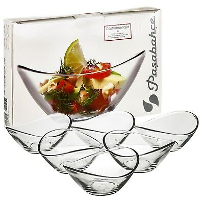 £5.49 • Buy 6 X Pasabahce Small Clear Curved Glass Dessert Bowls Ice Cream Fruit Sundae Dish