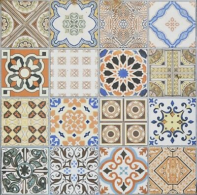 £1.50 • Buy CUT SAMPLE ONLY Porcelain Moroccan Pattern Feature Floor & Wall Patchwork Tiles