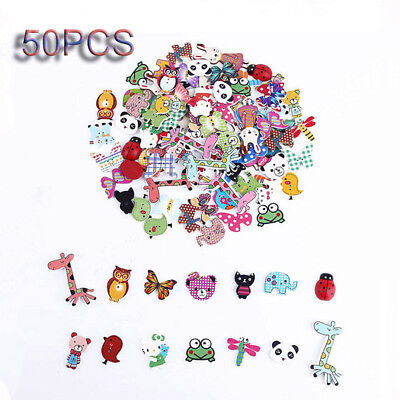 £2.94 • Buy 50pcs Mixed 2 Holes Decorative Sewing Buttons Animals Wood Buttons Scrapbooking