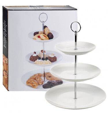 £7.99 • Buy 3 Layer Tier White Ceramic Round Serving Display Cakes Platter Food Stand Rack