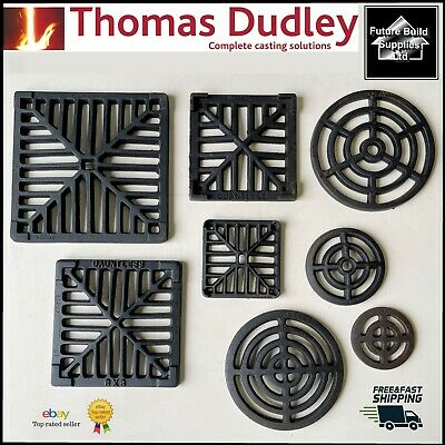 £14.38 • Buy Square Dish Round Cast Iron Gully Grid Grate Heavy Duty Drain Cover Black Finish