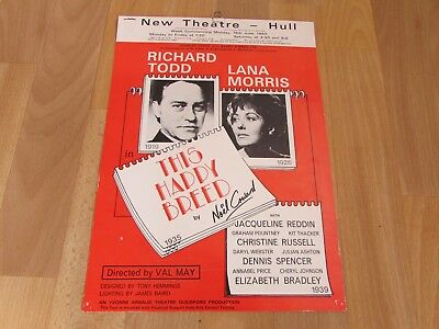 Richard TODD & Lana MORRIS In This Happy Breed 1980 New Theatre HULL Poster • 11.99£
