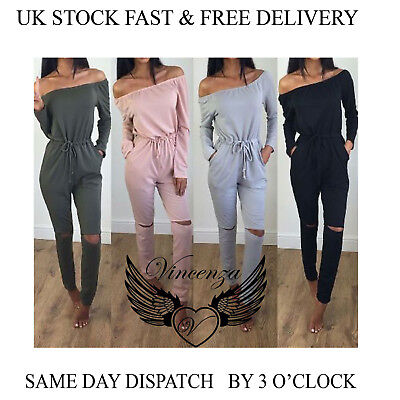 Womens Off Shoulder Long Sleeve Ripped Playsuit Ladies Casual Jumpsuit Vincenza • 7.99£