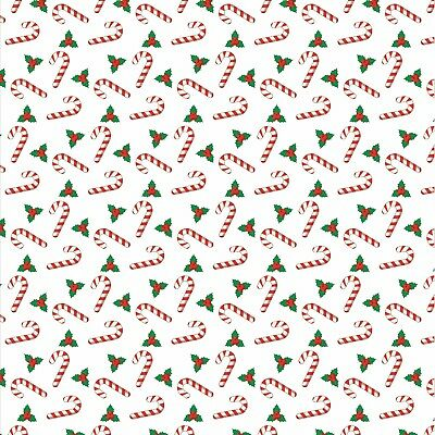£2.95 • Buy Printed Bow Fabric A4 Christmas Candy Cane And Holly CM10 Make Glitter Bows