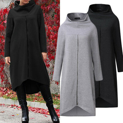 ZANZEA Women Long Shirt Dress Evening Party High Low Asym Split Sweatshirt Dress • 10.67£