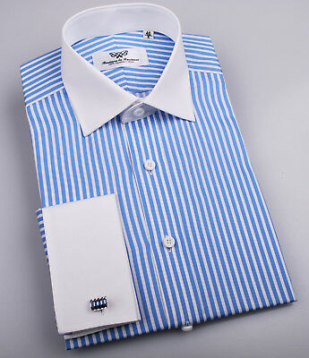 £35.39 • Buy Classic Blue Striped French Cuff Formal Business Dress Shirt White Spread Collar