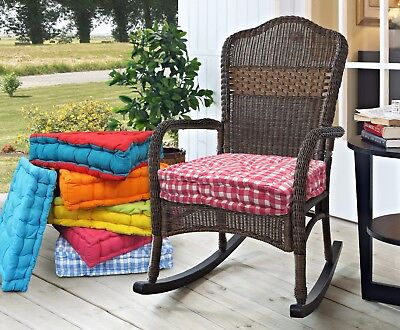 £8.95 • Buy 100% Cotton Covered Booster Cushion Thick Seat Pad Chair Garden Furniture Seat