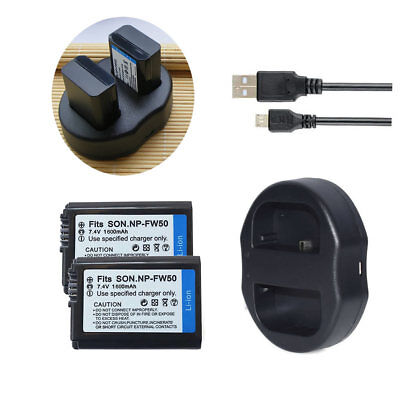 $ CDN31.73 • Buy 2xBattery &Dual USB Charger For Sony NP-FW50 Alpha A3000 A3500 A5000 A6500 A6000