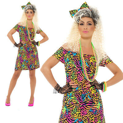 80s Party Animal Costume Neon Adult Womens Ladies Fancy Dress Outfit • 13.95£