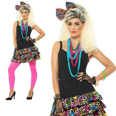 80s Party Girl Skirt Headpiece & Necklace Adult Womens Ladies Fancy Dress Outfit • 18.19£