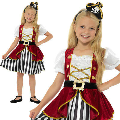 £13.79 • Buy Deluxe Pirate Girl Costume Buccaneer Childrens Girls Fancy Dress Outfit