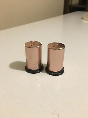 Vintage Copper Like Aluminum W/Black Bottoms Salt And Pepper Shakers Lightweight • 7.99$